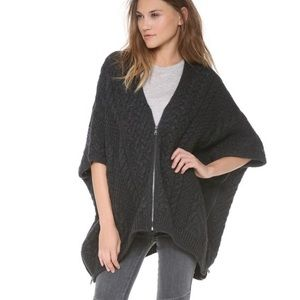 Vince Cable Knit Dark Slate Zip Front Poncho